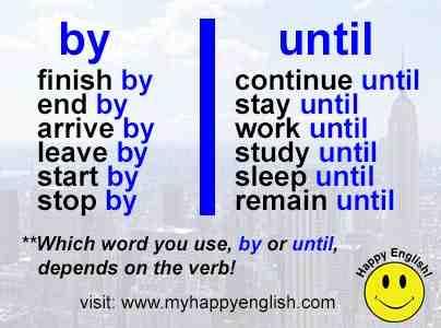 until vs by en anglais